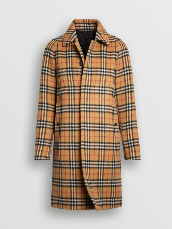 Vintage Check Alpaca Wool Car Coat in Antique Yellow - Men | Burberry - cell image 3