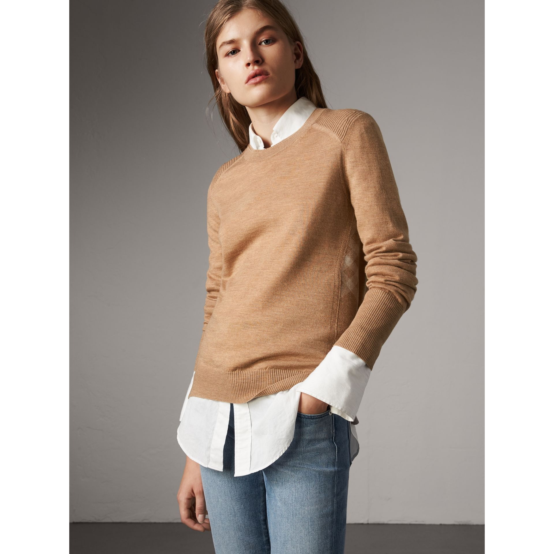 Check Detail Merino Wool Sweater in Camel - Women | Burberry - gallery image 6
