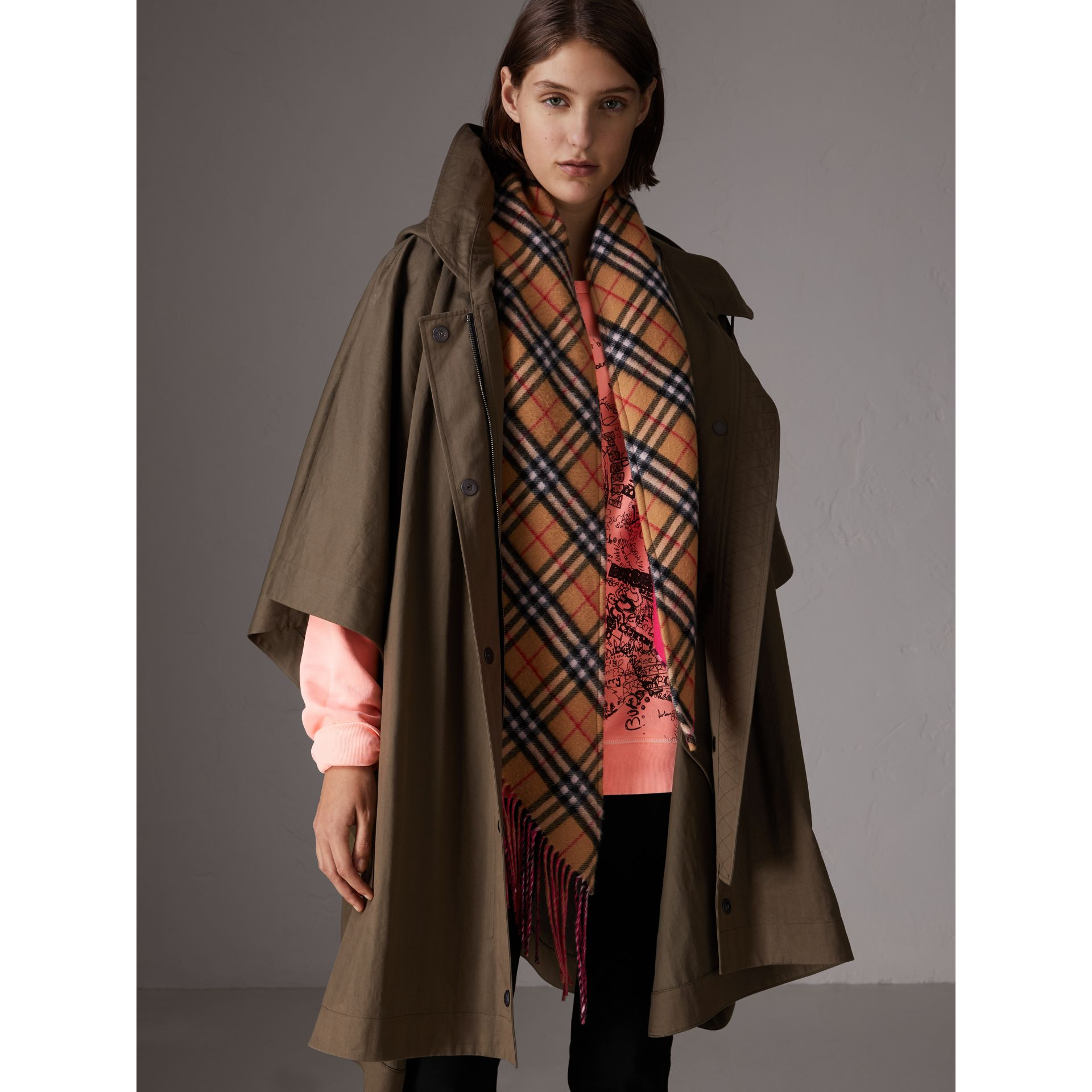 Showerproof Oversized Parka Cape in Dark Olive - Women | Burberry - gallery image 0
