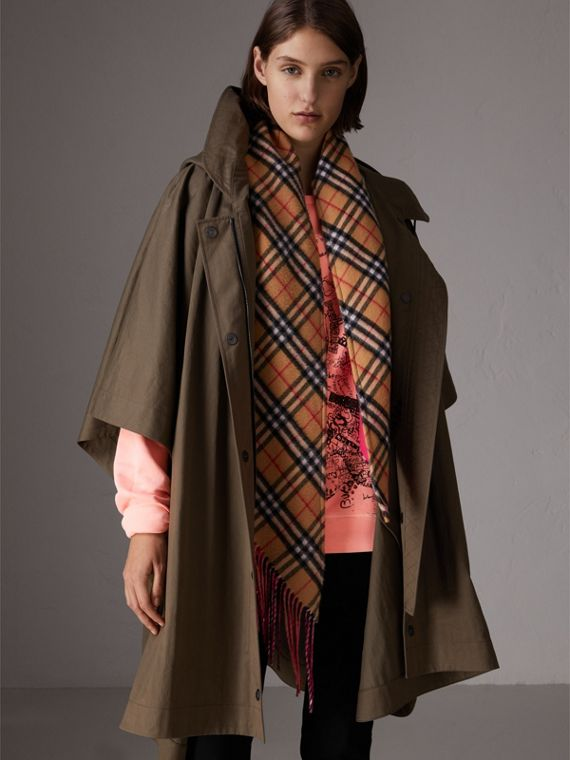 Showerproof Oversized Parka Cape in Dark Olive