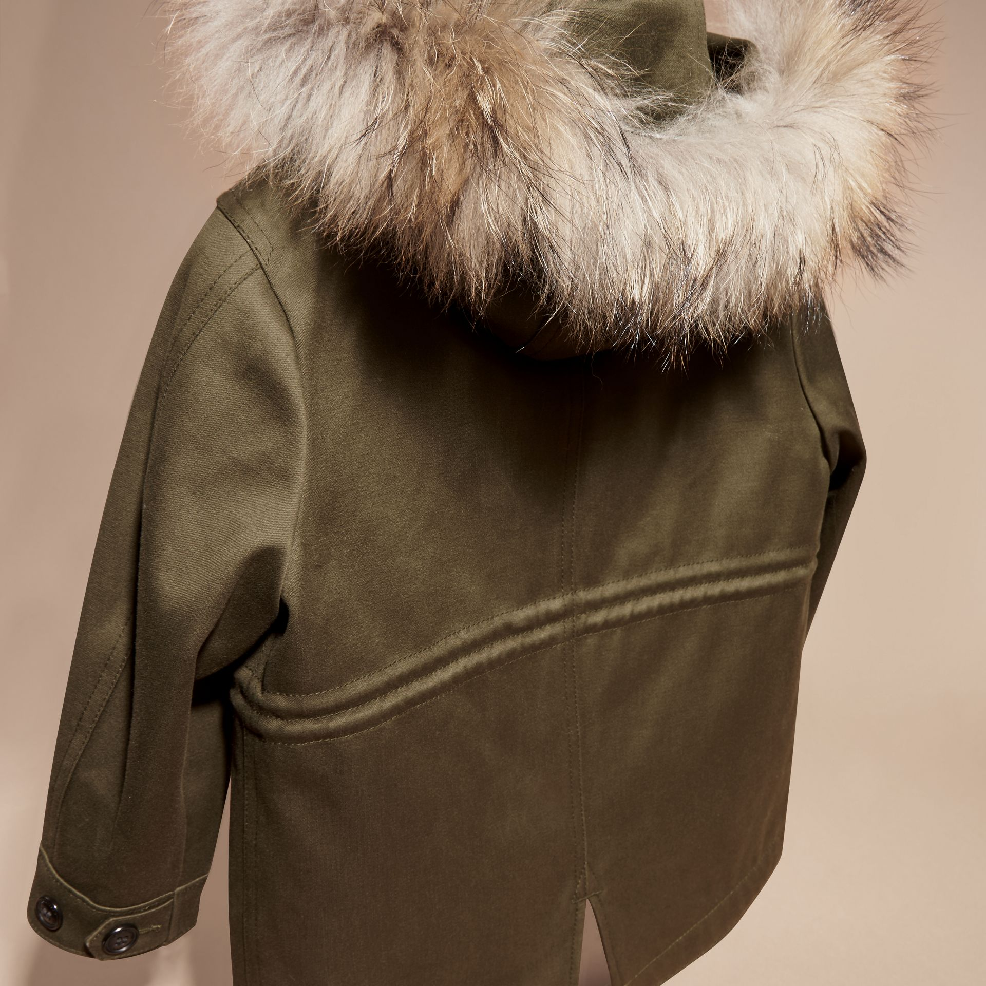 Olive green Fur-trimmed Cotton Sateen Parka - gallery image 4