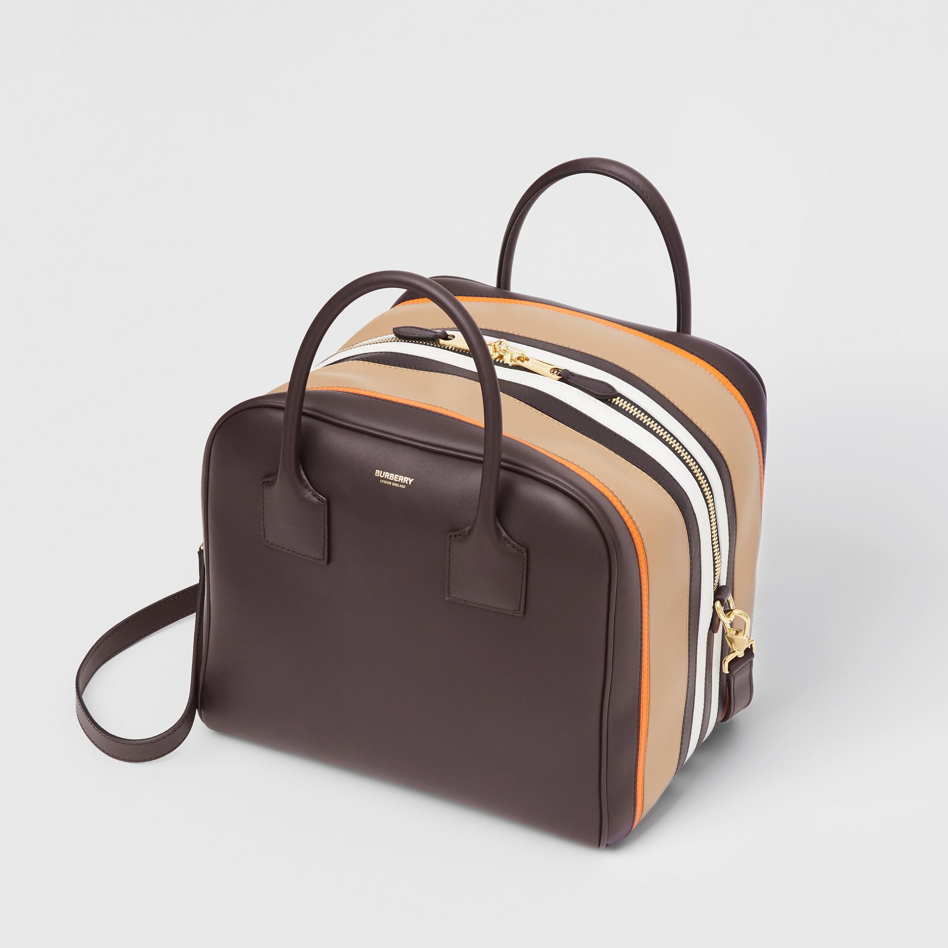 Medium Stripe Intarsia Leather Cube Bag in Coffee/pumpkin - Women | Burberry Hong Kong - gallery image 3