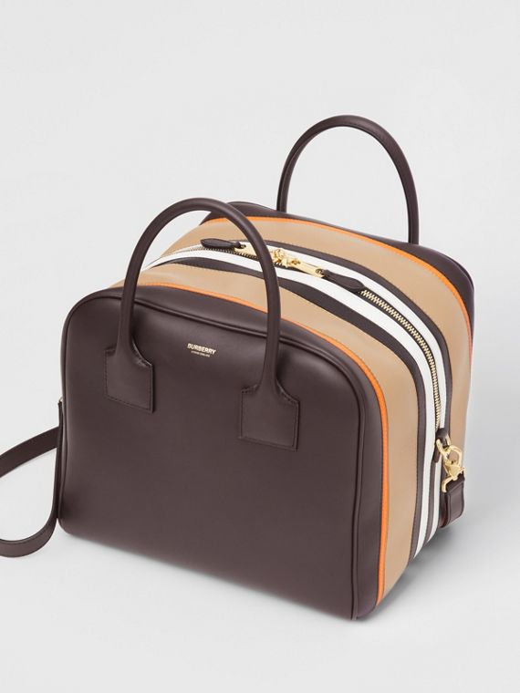 Medium Stripe Intarsia Leather Cube Bag in Coffee/pumpkin