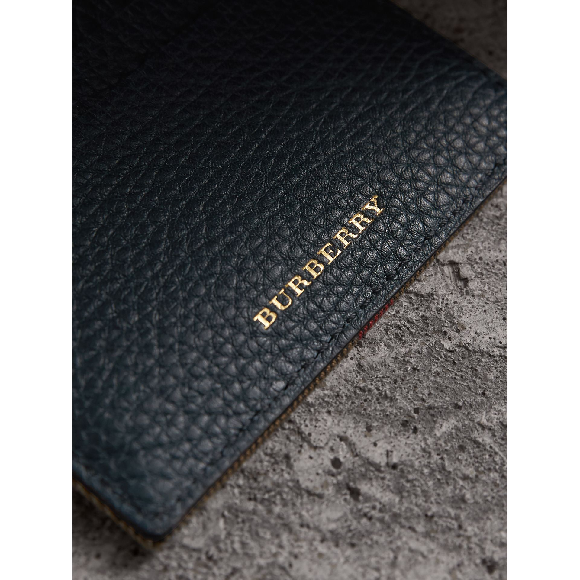 House Check and Grainy Leather Card Case in Storm Blue | Burberry - gallery image 2