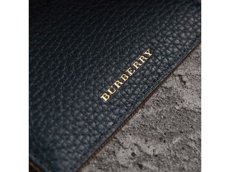 House Check and Grainy Leather Card Case in Storm Blue | Burberry United Kingdom - cell image 1