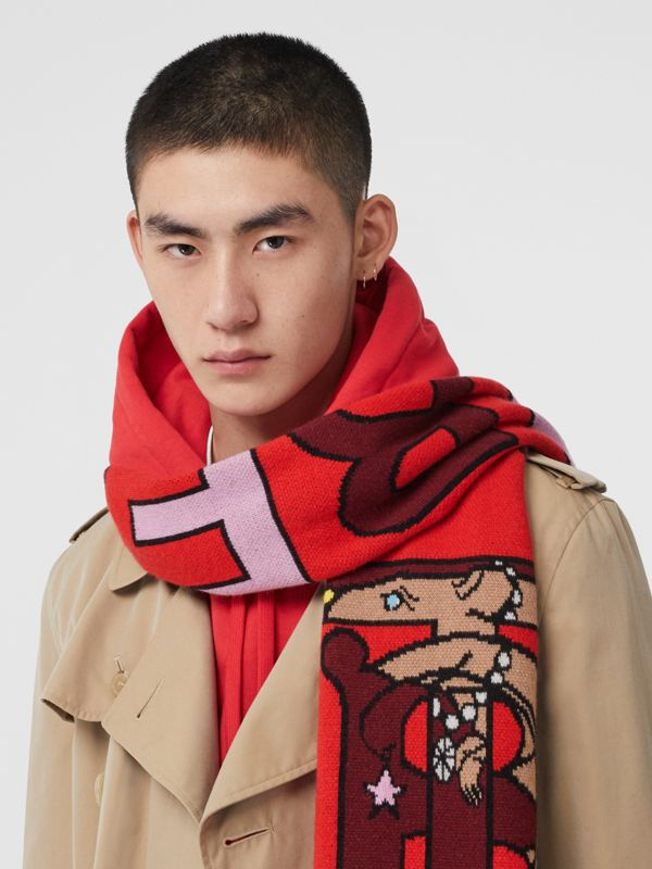 Logo and Monogram Motif Intarsia Cashmere Scarf in Bright Red | Burberry United States - cell image 3