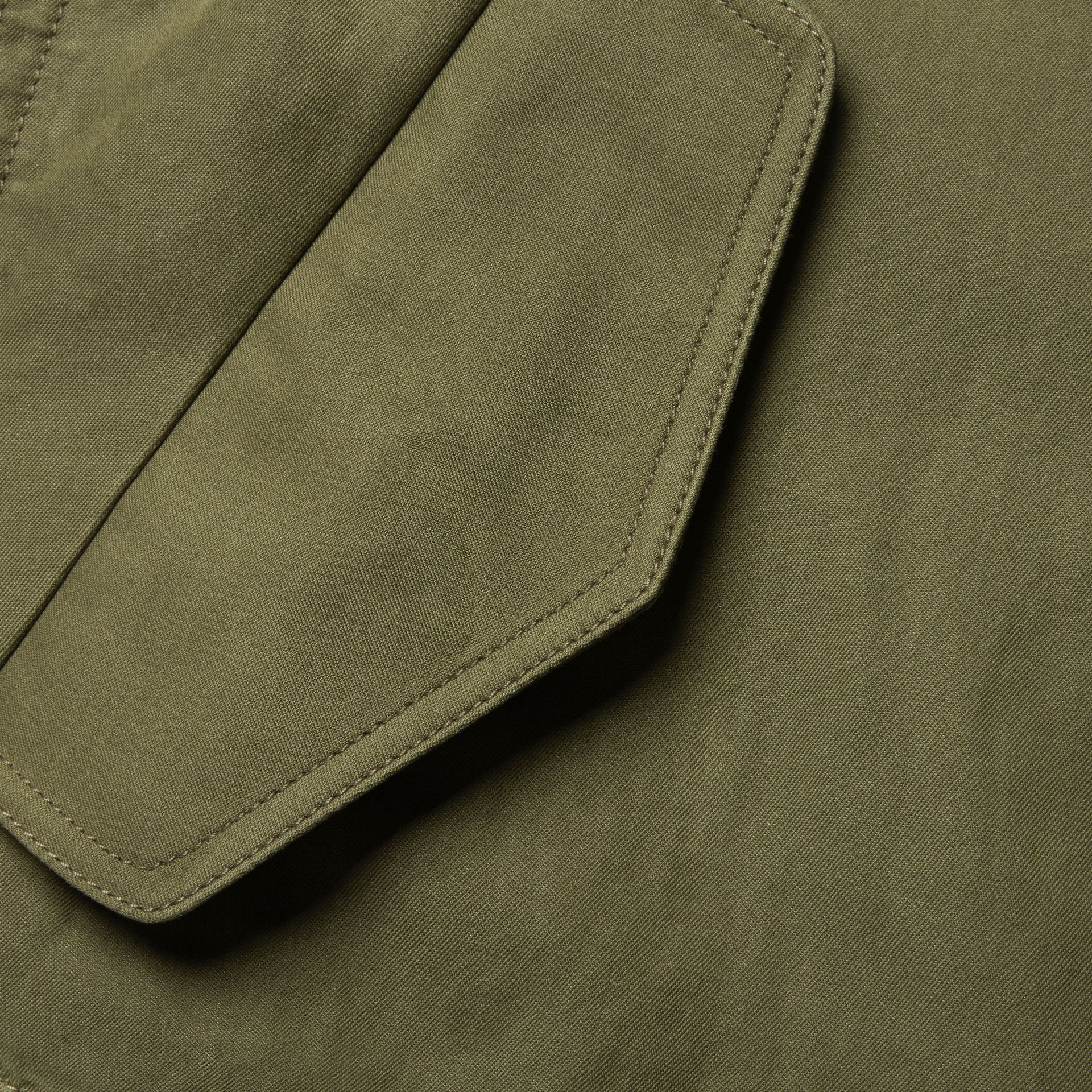 Military green Bib Detail Ramie and Cotton Jacket - gallery image 2