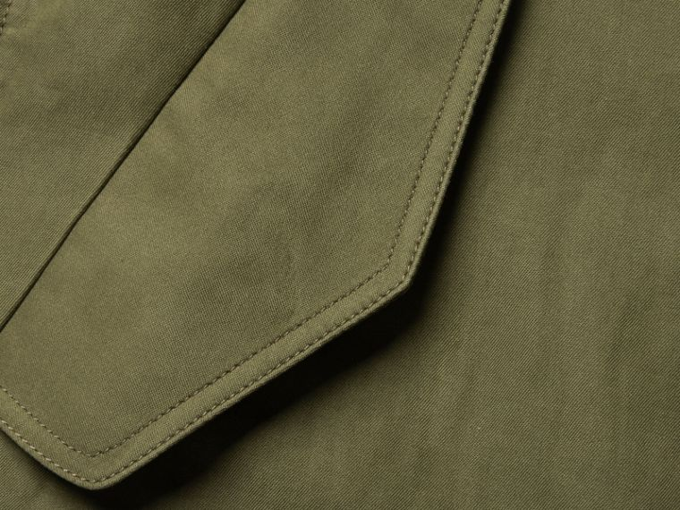Military green Bib Detail Ramie and Cotton Jacket - cell image 1