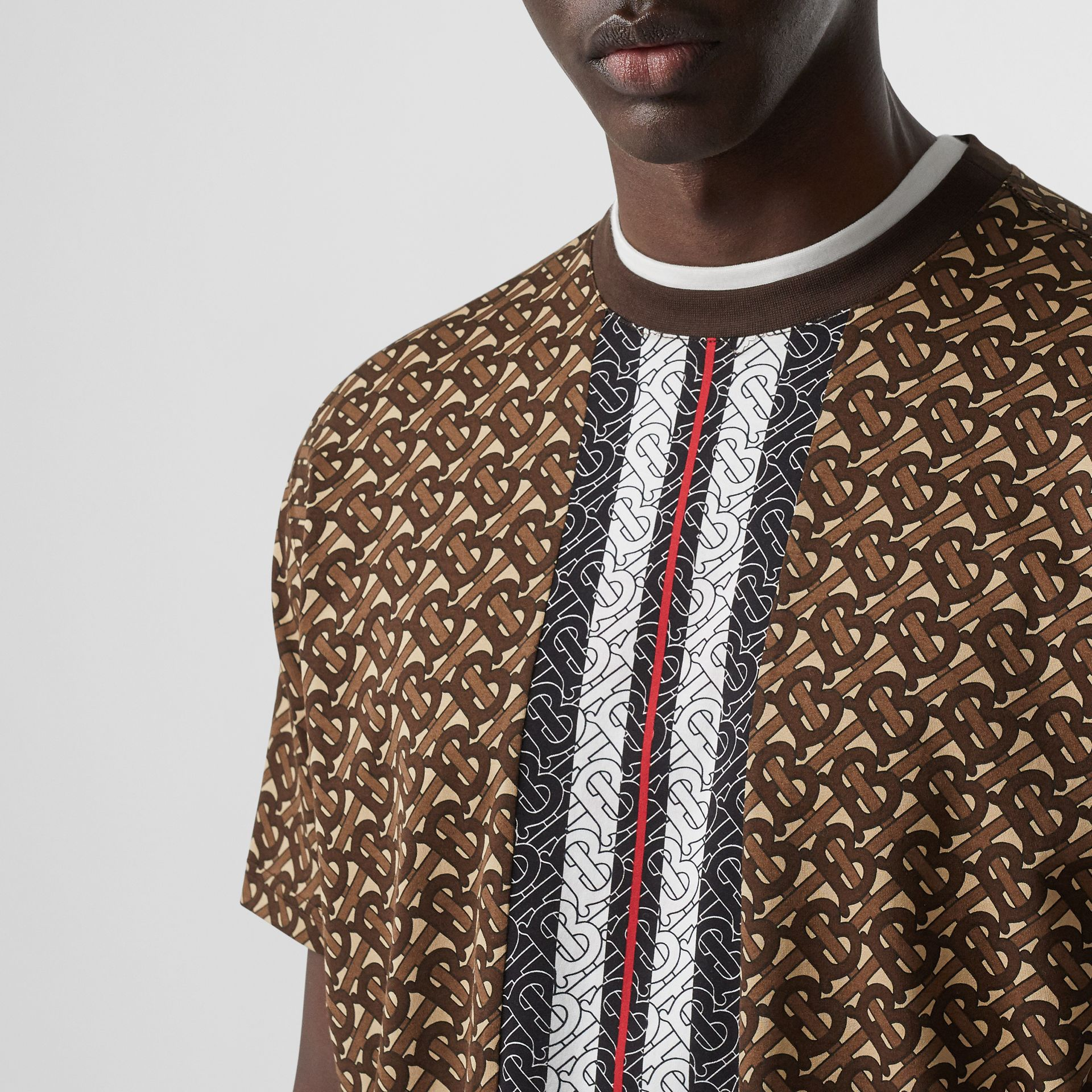 Monogram Stripe Print Cotton T-shirt in Bridle Brown - Men | Burberry - gallery image 6