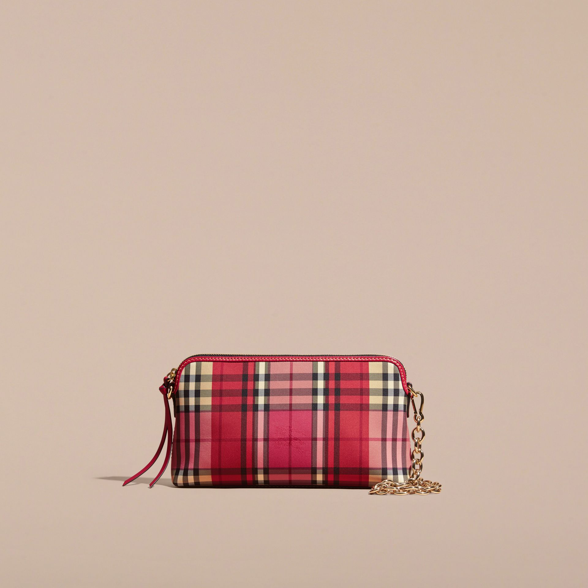 Overdyed Horseferry Check and Leather Clutch Bag - gallery image 9
