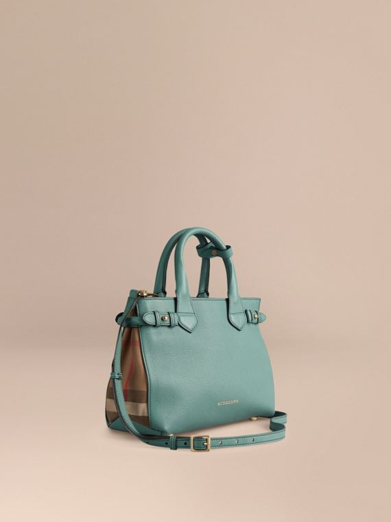 The Small Banner in Leather and House Check - Women   Burberry