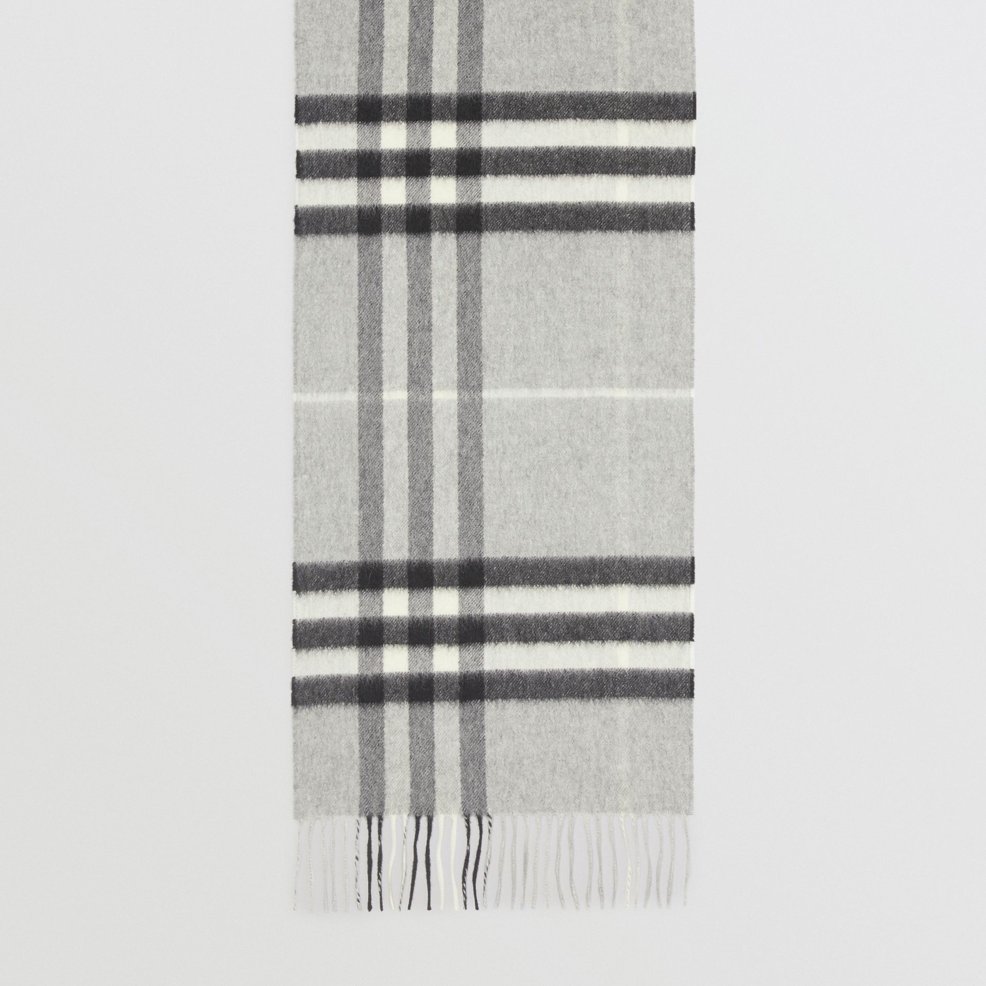 The Classic Check Cashmere Scarf in Pale Grey | Burberry - gallery image 4