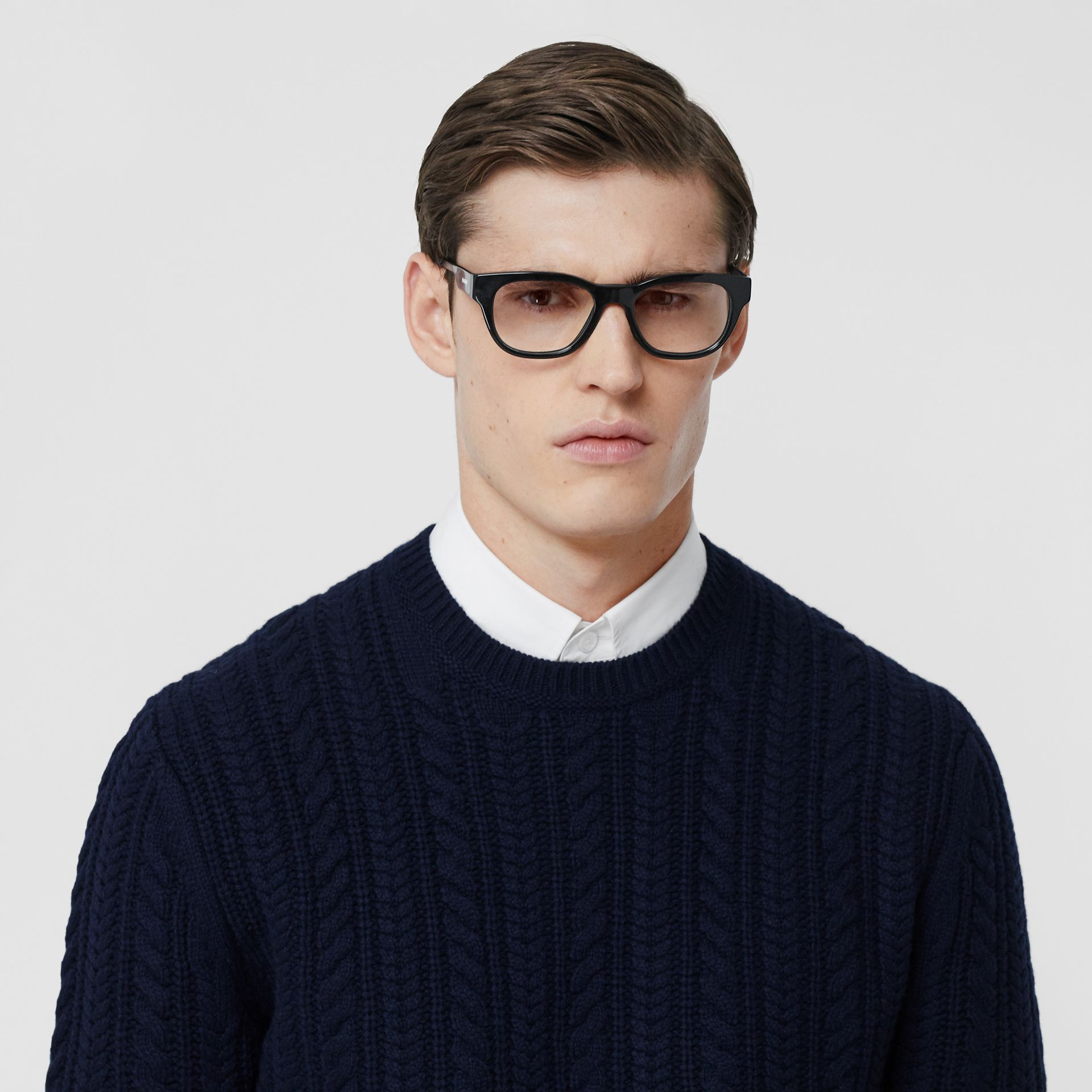 Cable Knit Cashmere Sweater in Navy - Men | Burberry - gallery image 1