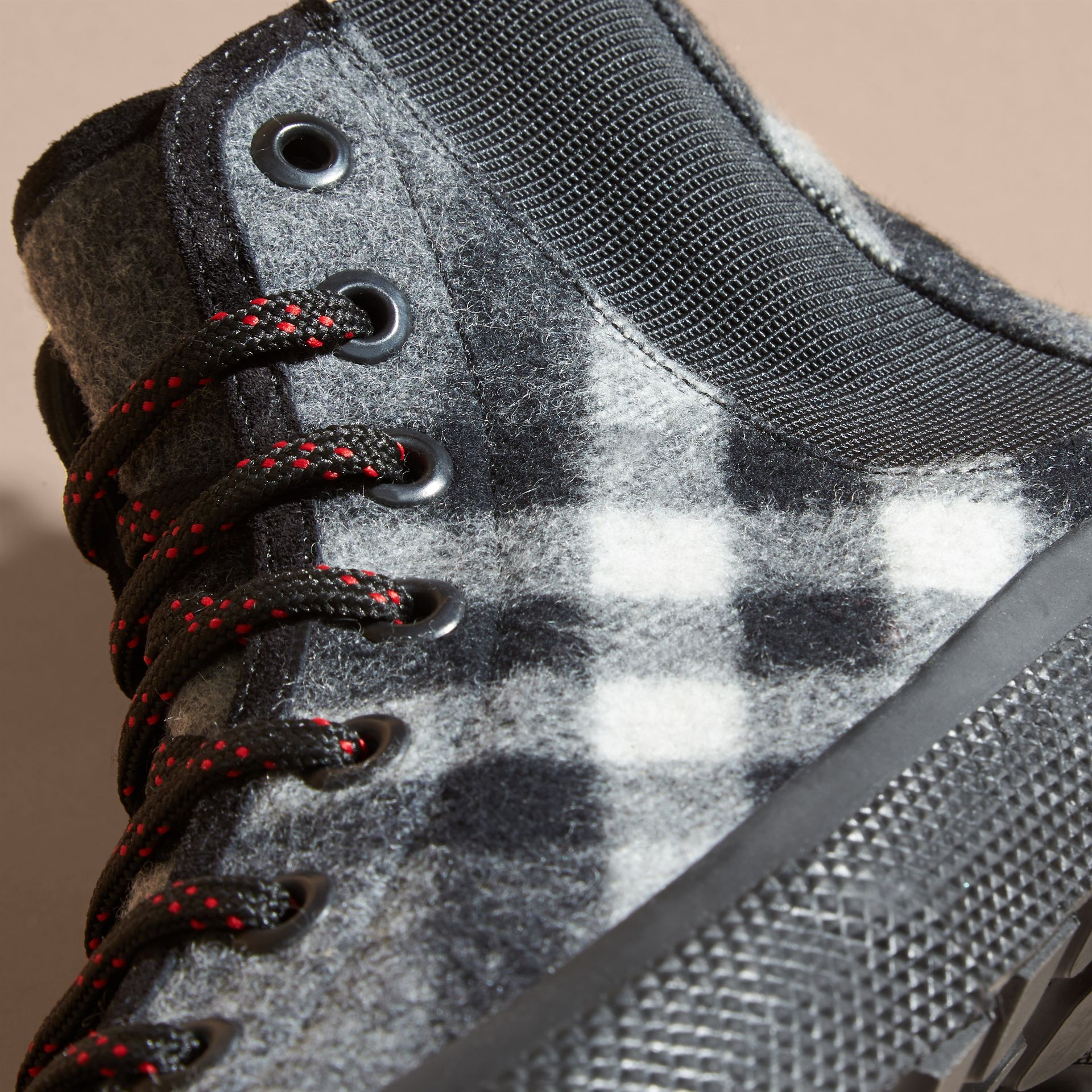Dark grey Check Technical Wool and Vulcanised Rubber Boots Dark Grey - gallery image 2