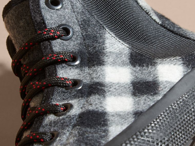 Dark grey Check Technical Wool and Vulcanised Rubber Boots Dark Grey - cell image 1