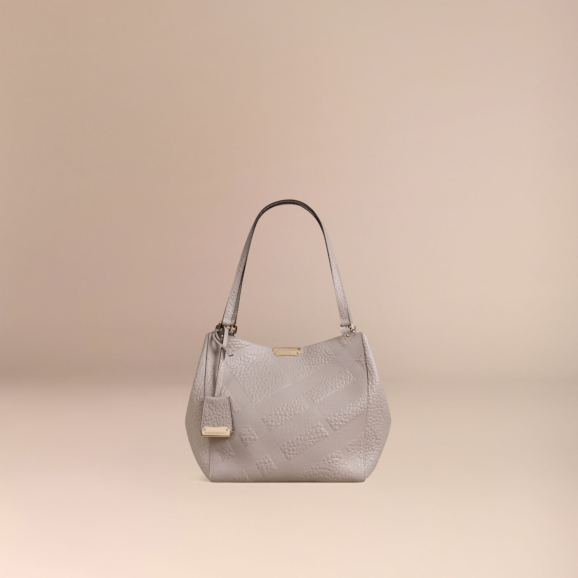 Pale grey The Small Canter in Check Embossed Leather Pale Grey - gallery image 8