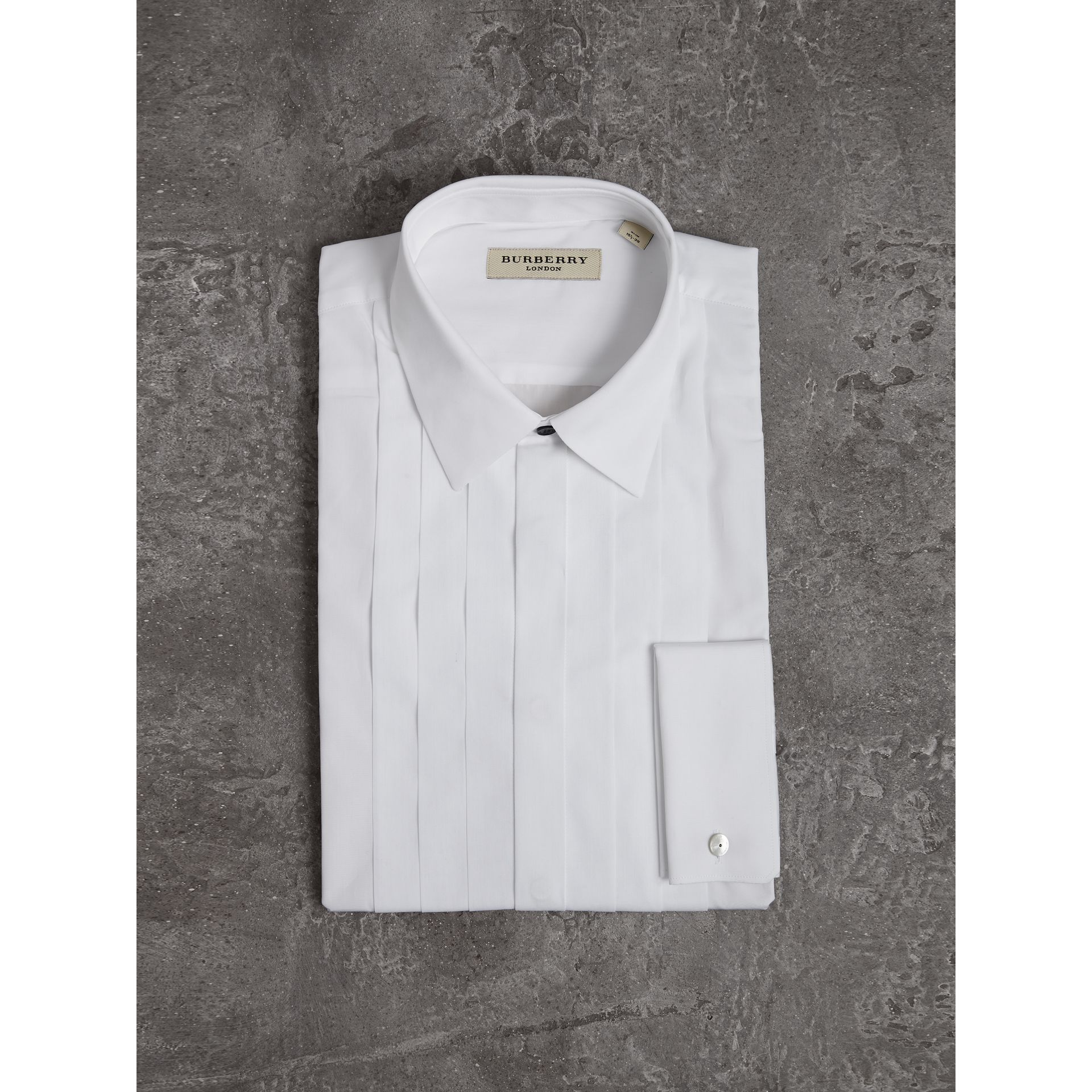 Slim Fit Cotton Poplin Dress Shirt in White - Men | Burberry Australia - gallery image 4