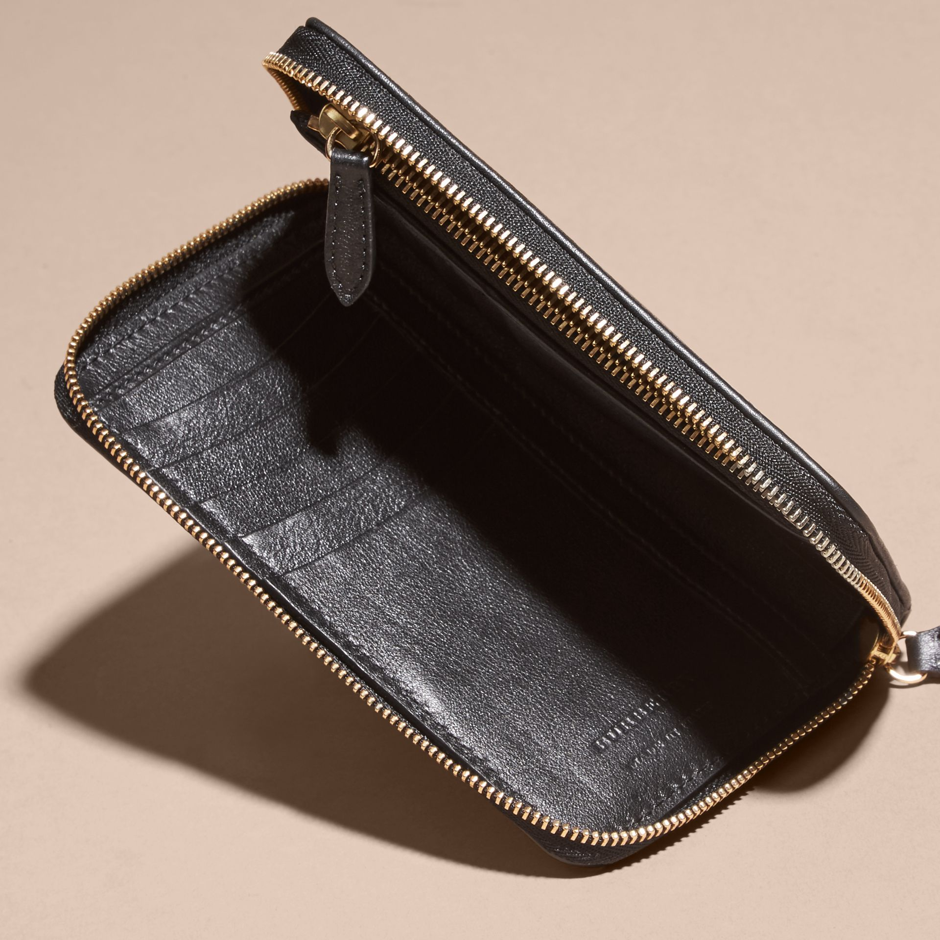 Medium Horseferry Check and Leather Ziparound Wallet - gallery image 5