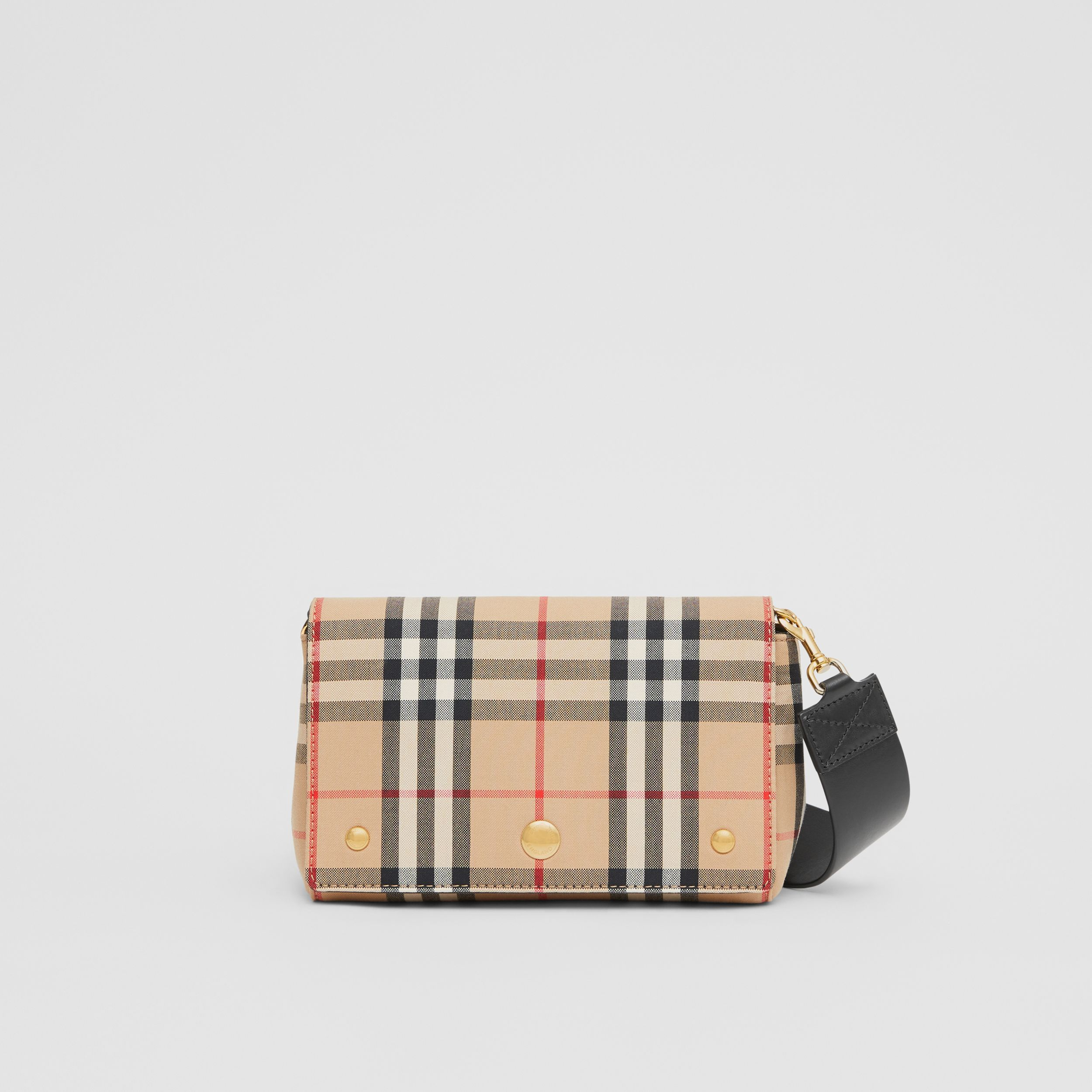 Small Vintage Check and Leather Crossbody Bag in Archive Beige/black - Women | Burberry - 1
