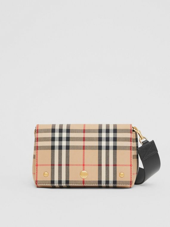Vintage Check and Leather Note Crossbody Bag in Archive Beige/black