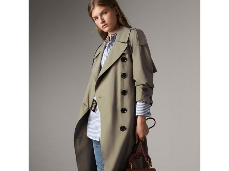 Tropical Gabardine Trench Coat in Slate Green - Women | Burberry - cell image 4