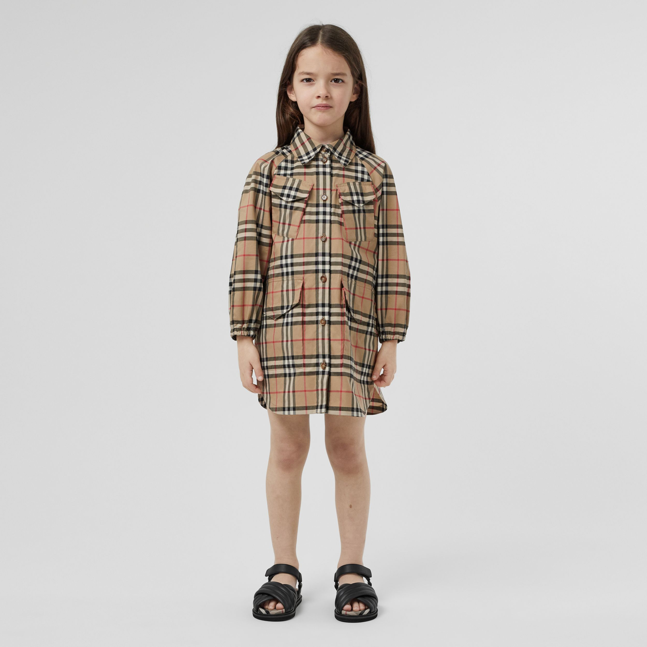 Vintage Check Cotton Shirt Dress in Archive Beige | Burberry - 3