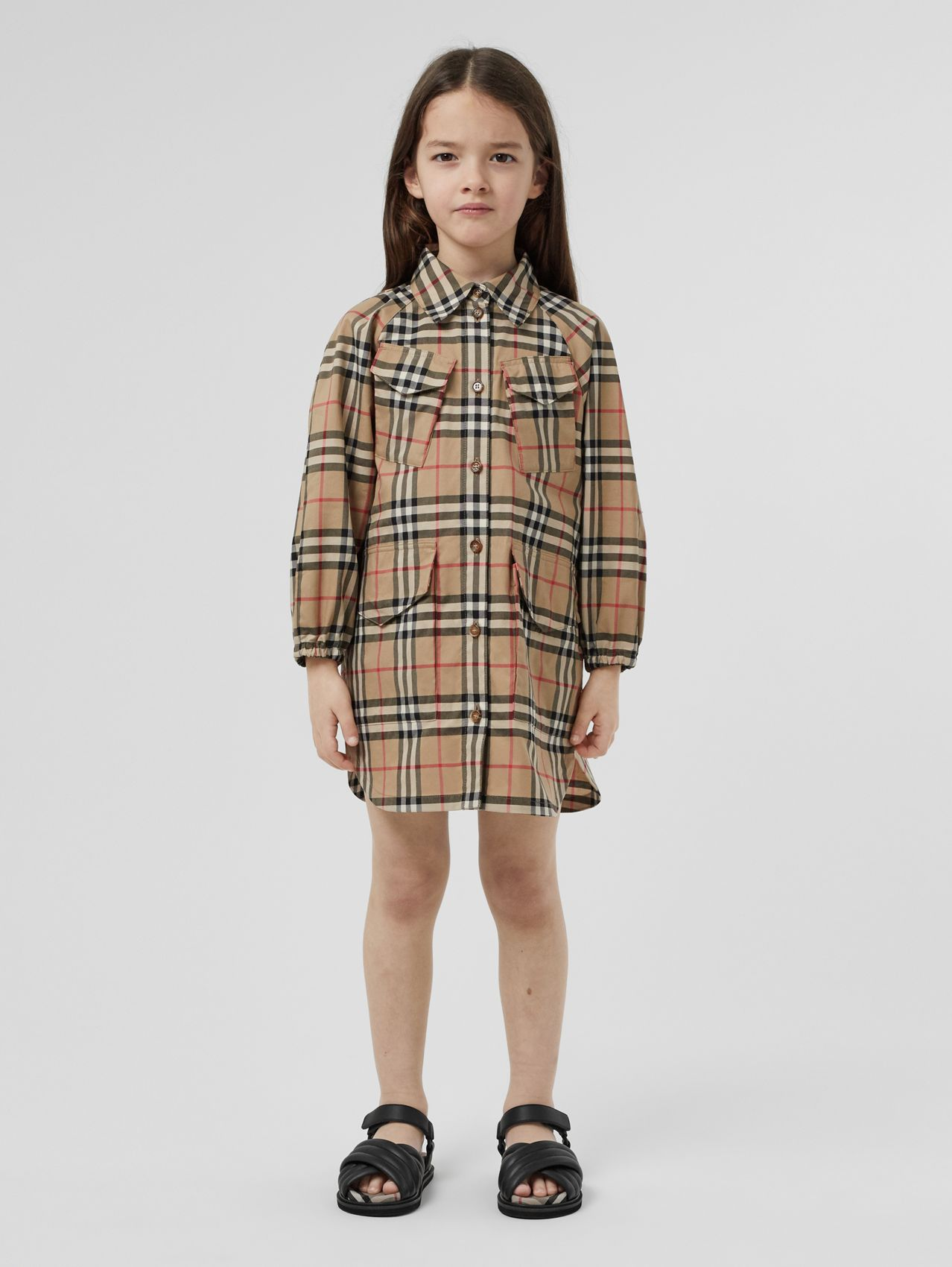 Vintage Check Cotton Shirt Dress in Archive Beige