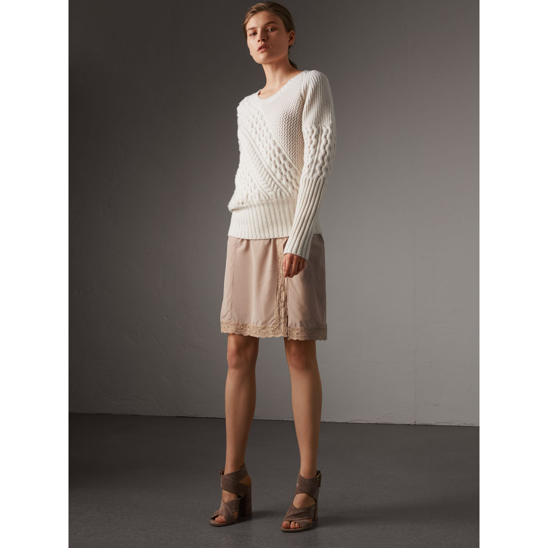 Lace Trim Silk Skirt - Women | Burberry - gallery image 1