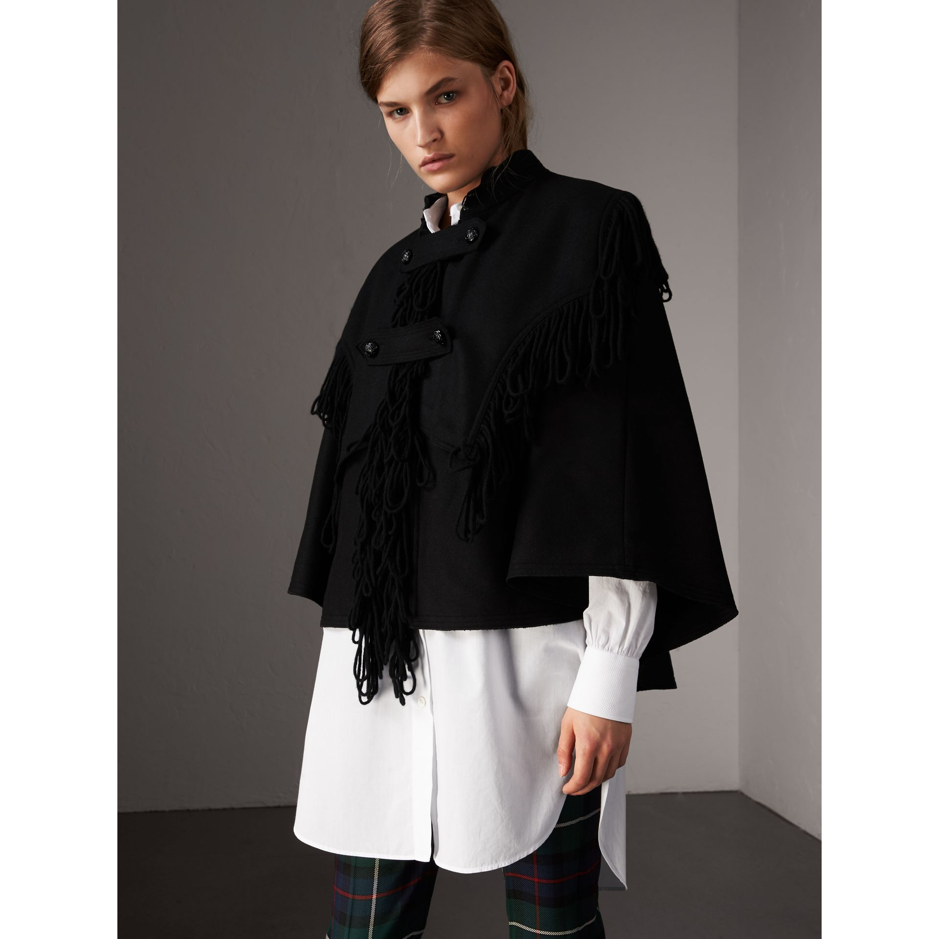 Fringed Wool Blend Military Cape in Black - Women | Burberry United States - gallery image 0