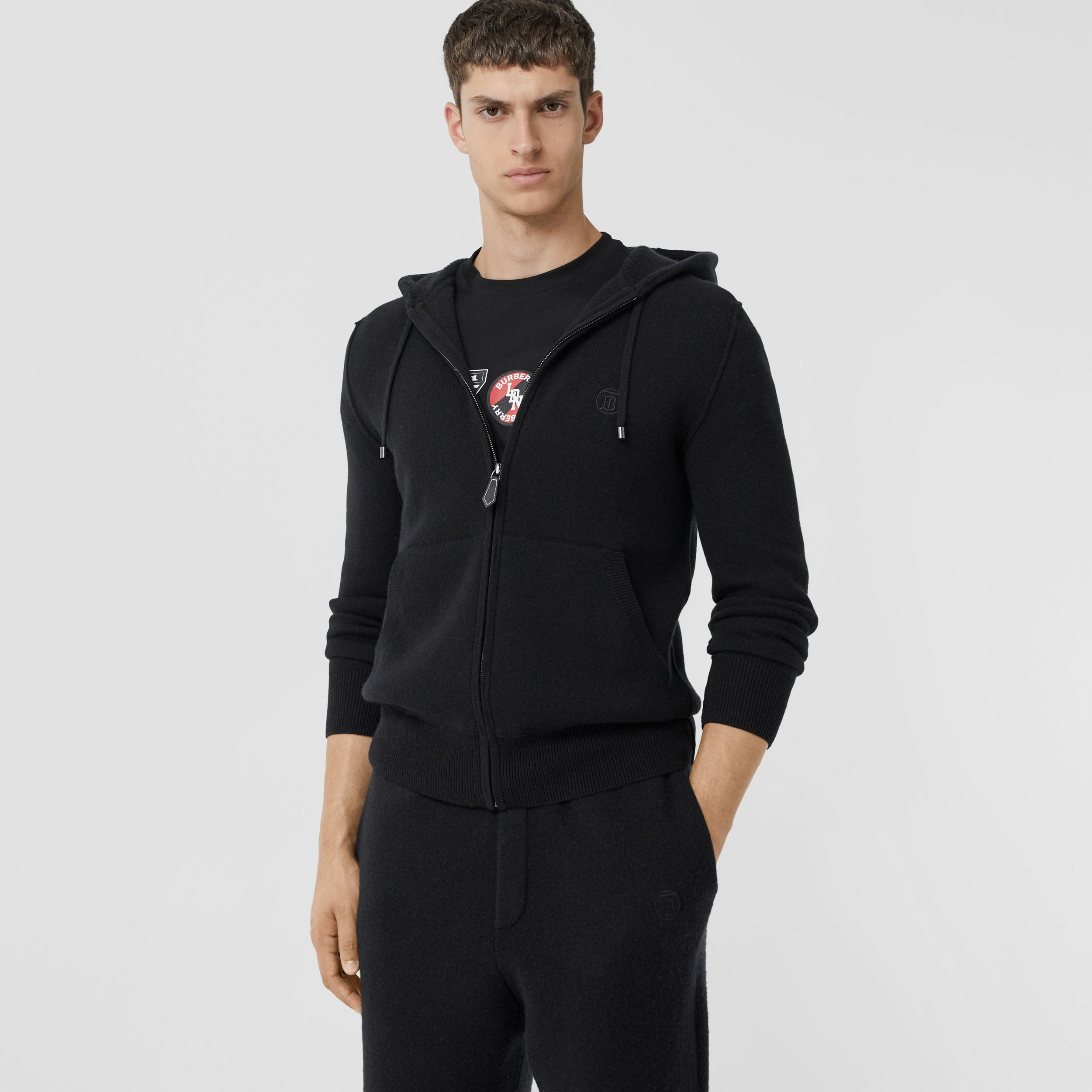 Monogram Motif Cashmere Blend Hooded Top in Black - Men | Burberry - 1