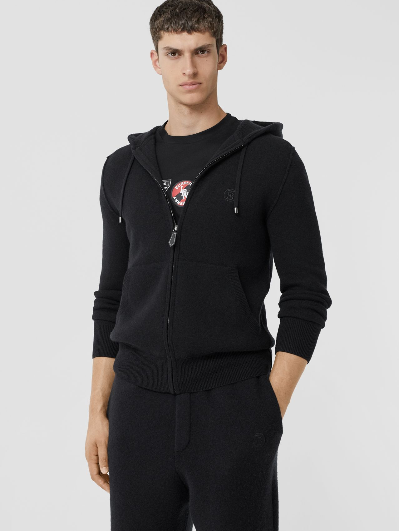 Monogram Motif Cashmere Blend Hooded Top in Black