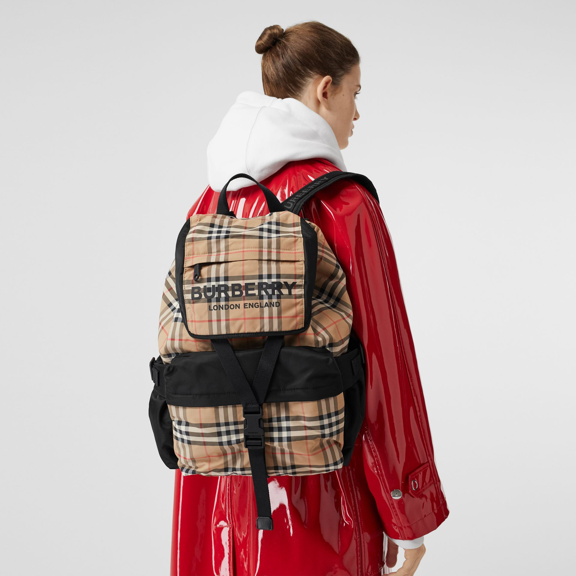 Logo Print Vintage Check Backpack in Archive Beige - Women | Burberry Singapore - gallery image 5