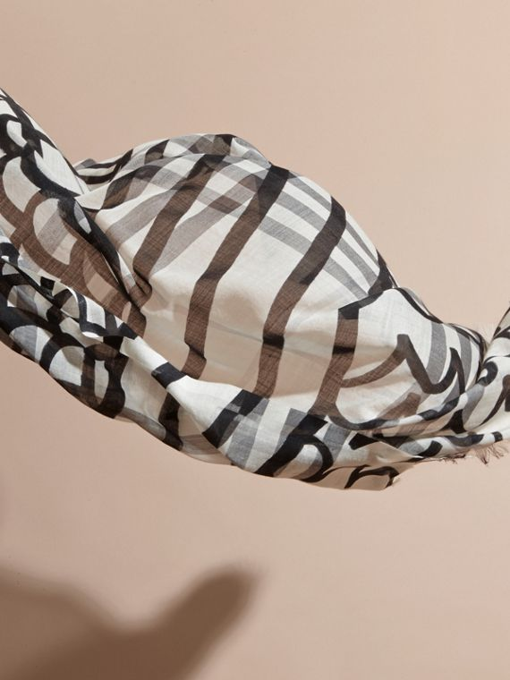 Check Wool Silk Scarf with Trompe L'oeil Print Natural White/black - cell image 3