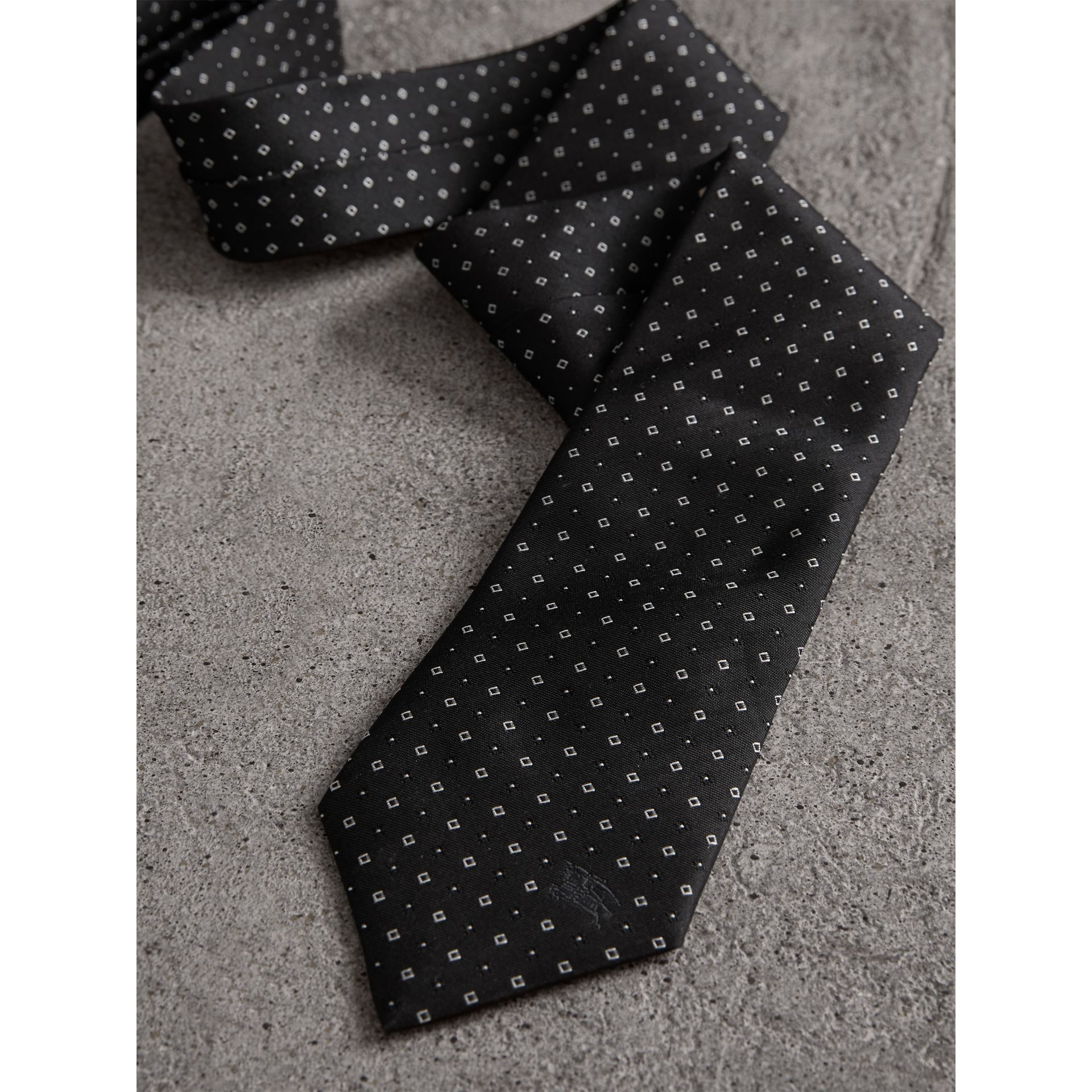 Modern Cut Micro Square Silk Tie in Black - Men | Burberry Australia - gallery image 1