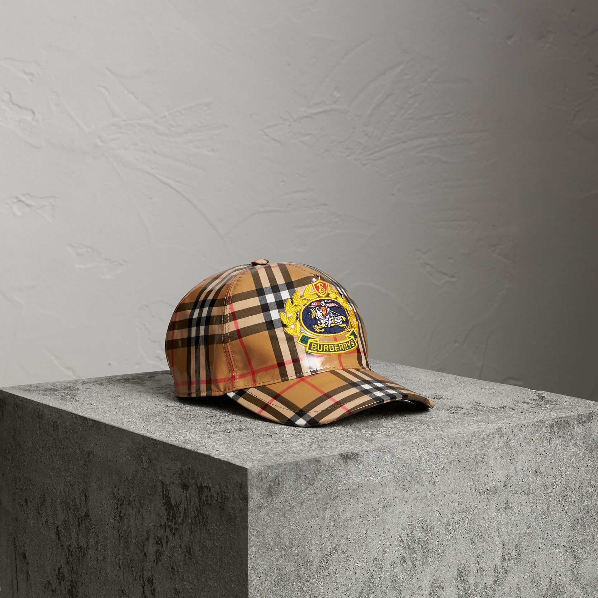 Archive Logo Coated Vintage Check Baseball Cap in Antique Yellow | Burberry Australia - gallery image 0