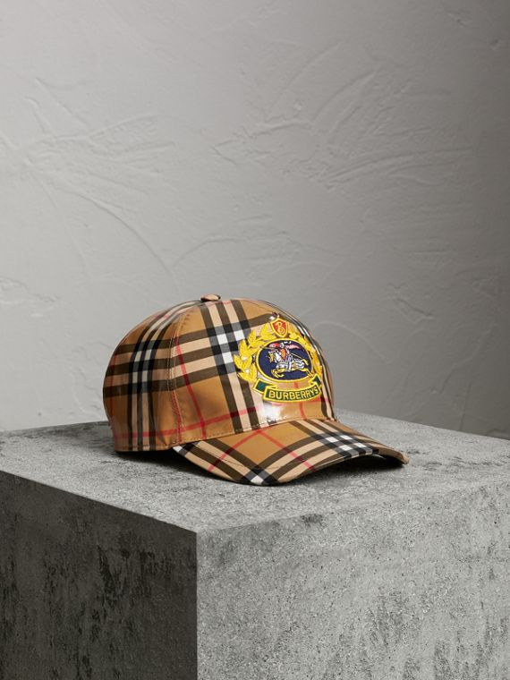 Archive Logo Coated Vintage Check Baseball Cap in Antique Yellow