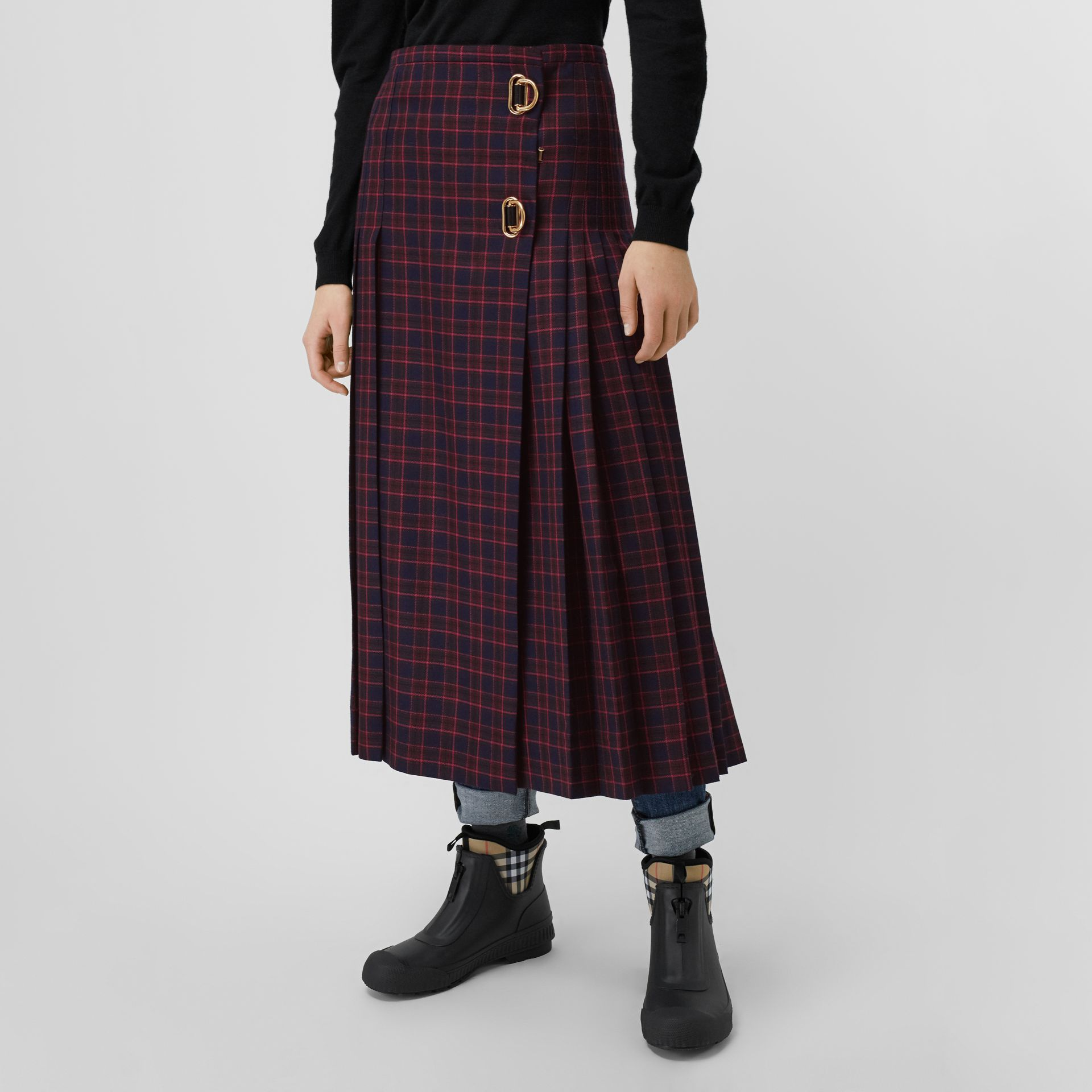 Tartan Wool Long Kilt in Navy - Women | Burberry - gallery image 4