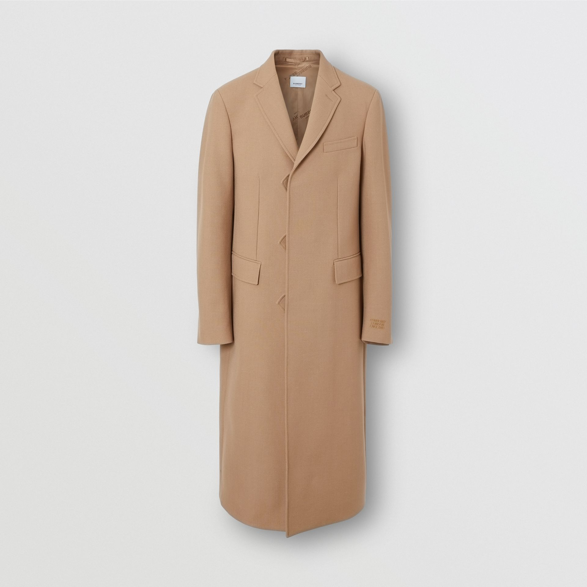 Logo Embroidered Wool Coat in Camel - Men | Burberry - gallery image 2