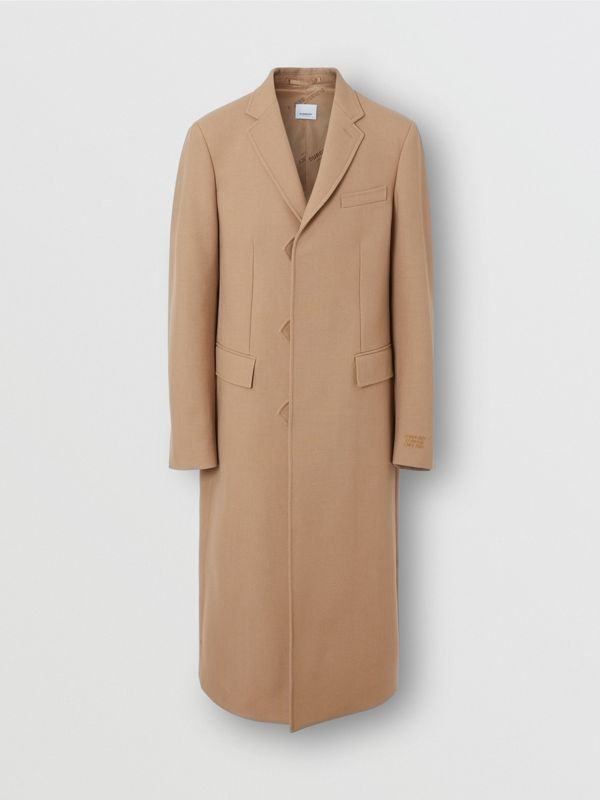 Logo Embroidered Wool Coat in Camel - Men | Burberry Singapore - cell image 2