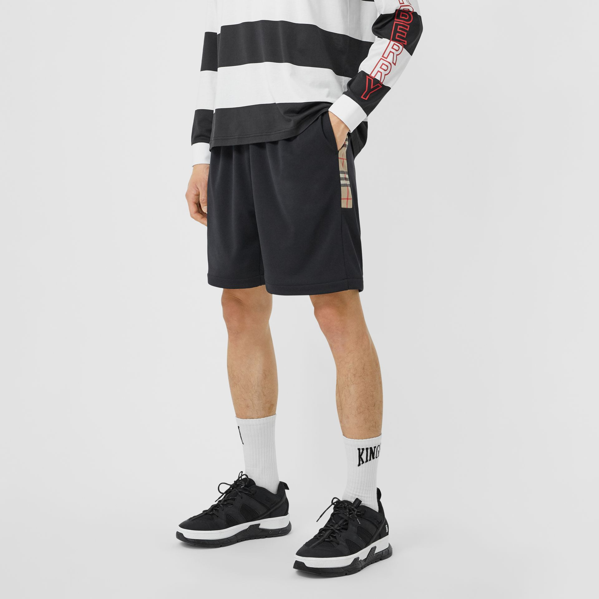 Vintage Check Trim Technical Twill Shorts in Black - Men   Burberry - gallery image 4