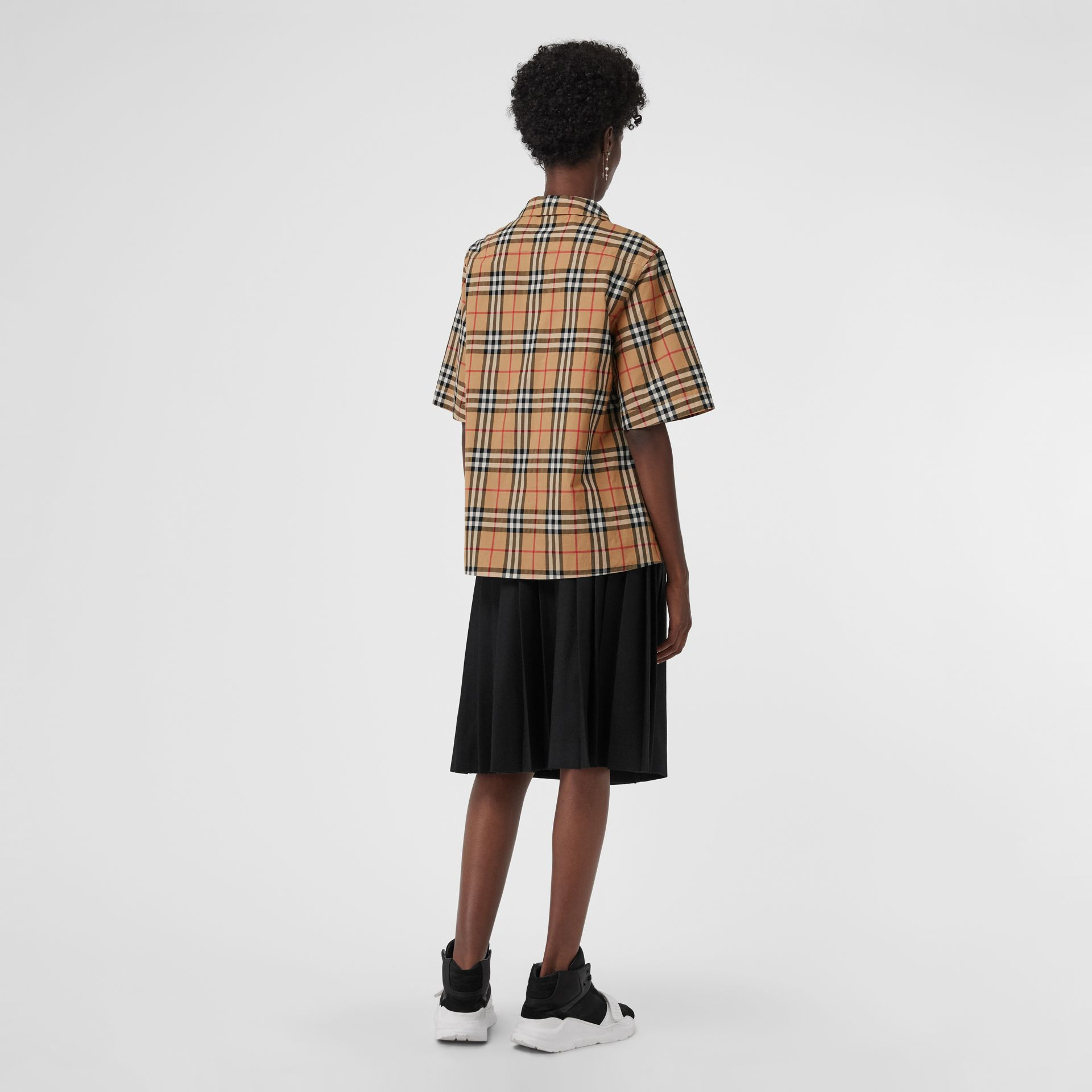 Short-sleeve Vintage Check Shirt in Antique Yellow - Women | Burberry Canada - gallery image 2