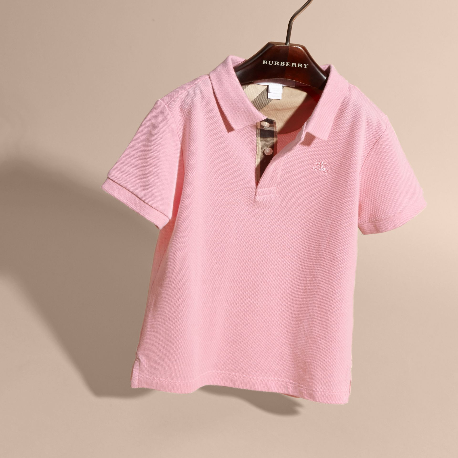 Check Placket Polo Shirt in Light Pink - Boy | Burberry - gallery image 3