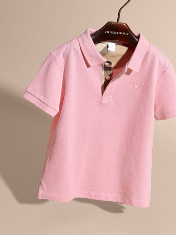 Check Placket Polo Shirt in Light Pink - Boy | Burberry - cell image 2