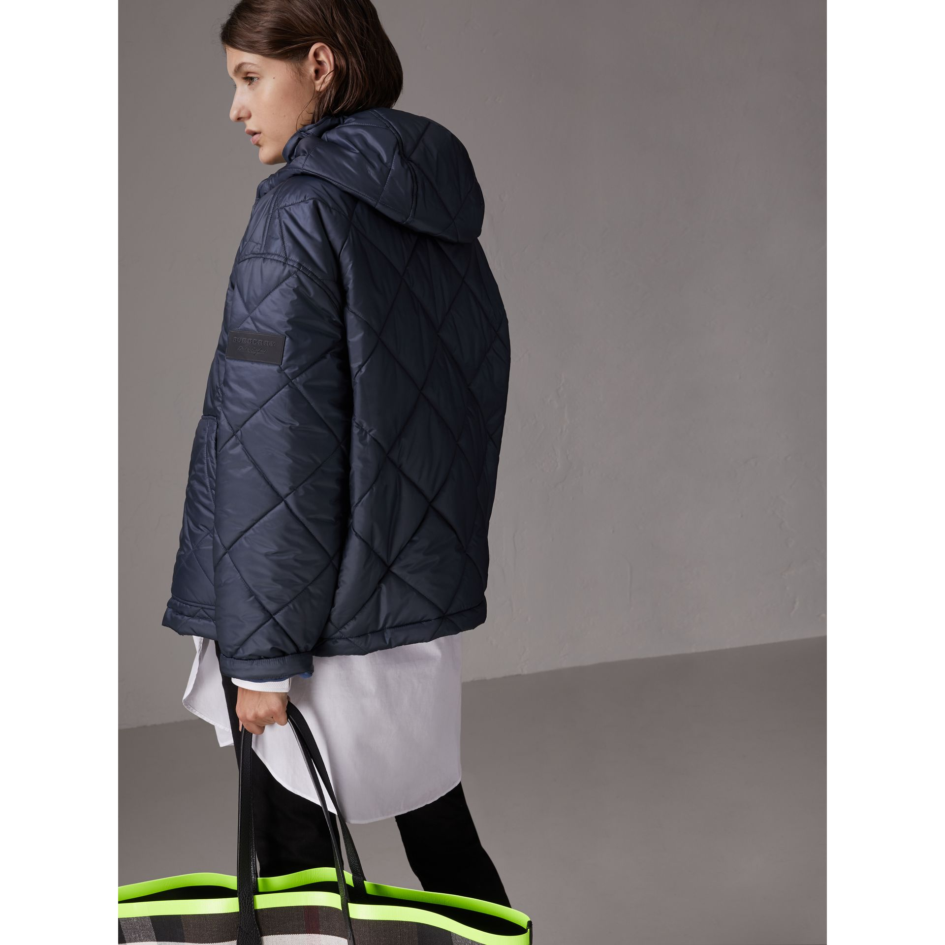 Reversible Diamond Quilted Hooded Jacket in Navy - Women | Burberry - gallery image 2