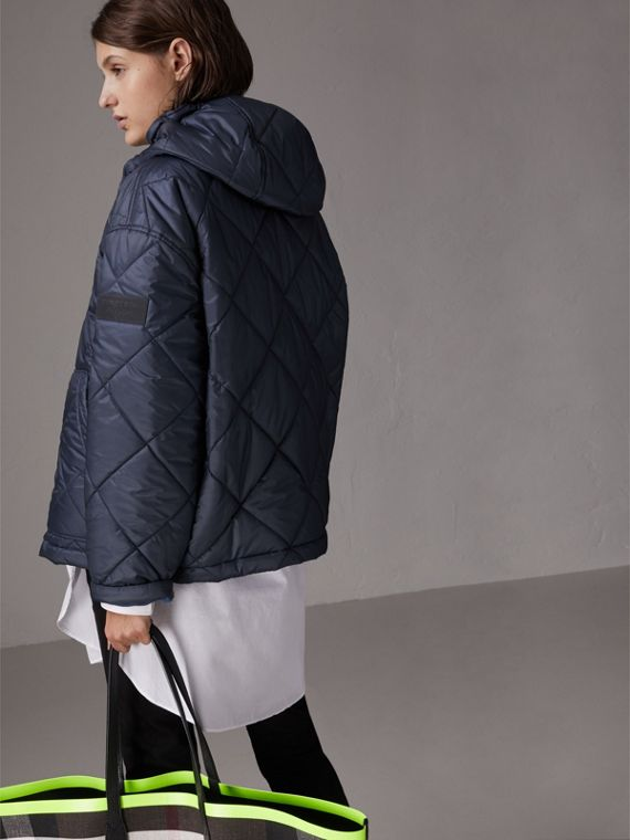 Reversible Diamond Quilted Hooded Jacket in Navy - Women | Burberry United States - cell image 2