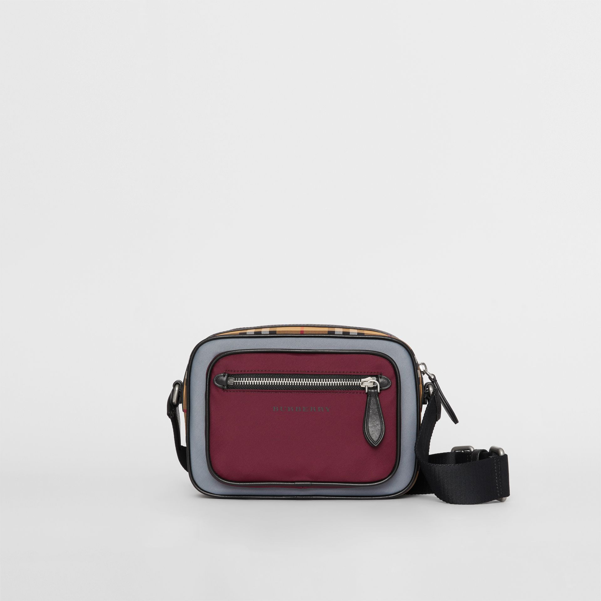 Colour Block Vintage Check Crossbody Bag in Oxblood - Men | Burberry Australia - gallery image 0