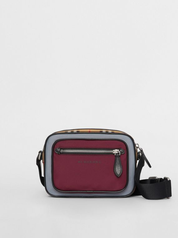 Colour Block Vintage Check Crossbody Bag in Oxblood