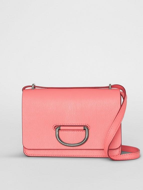 Bolsa D-ring de couro - Pequena (Rosa Coral Intenso)