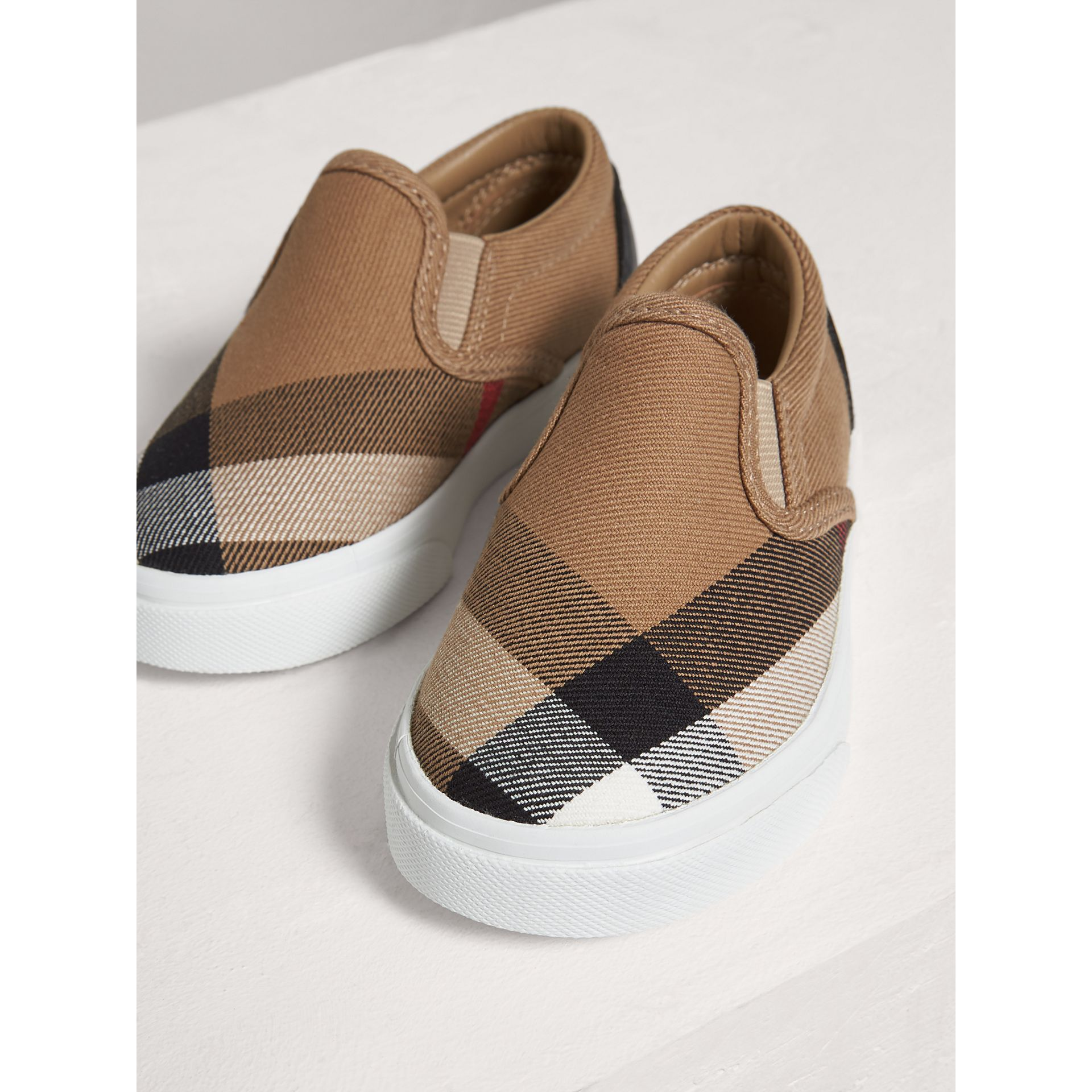 House Check and Leather Slip-on Sneakers in Classic Check/optic White | Burberry - gallery image 3
