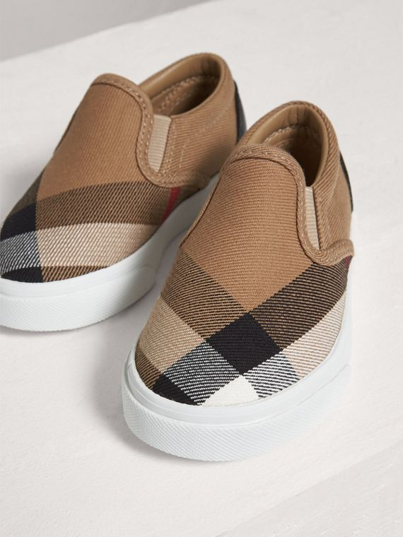 House Check and Leather Slip-on Sneakers in Classic Check/optic White | Burberry - cell image 3